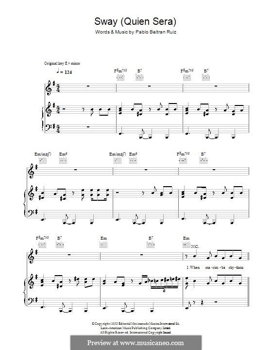 Sway (Quien Sera): Для голоса и фортепиано (или гитары) by Pablo Beltran Ruiz