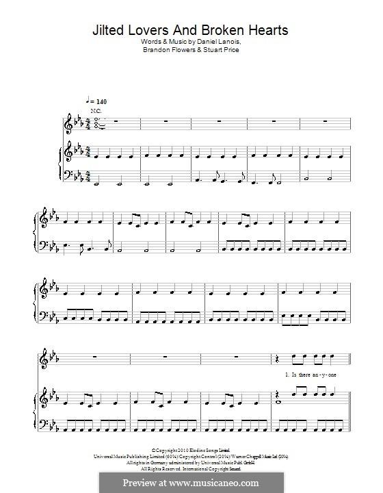 Jilted Lovers and Broken Hearts (The Killers): Для голоса и фортепиано или гитары by Brandon Flowers, Daniel Lanois, Stuart Price