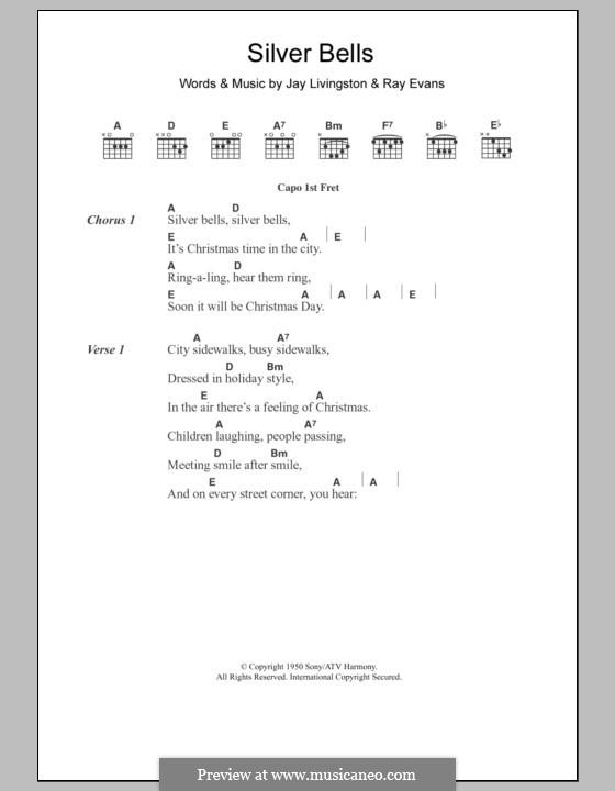 Silver Bells: Текст, аккорды by Jay Livingston, Raymond Evans