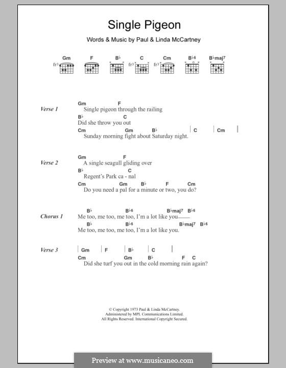 Single Pigeon: Текст, аккорды by Linda McCartney, Paul McCartney