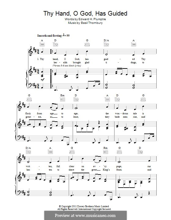 Thy Hand, O God: Для голоса и фортепиано (или гитары) by Basil Thornbury