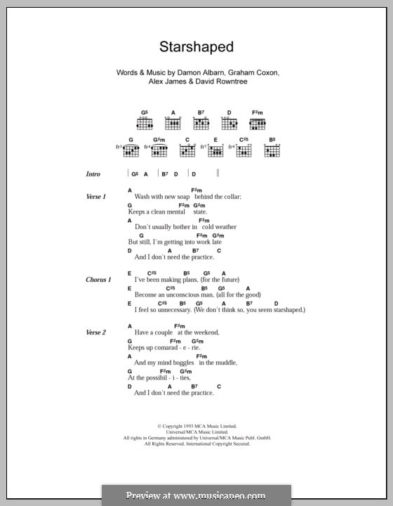 Starshaped (Blur): Текст и аккорды by Alex James, Damon Albarn, David Rowntree, Graham Coxon