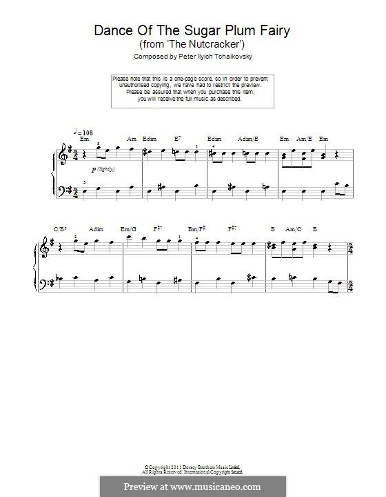 No.3 Танец феи Драже, для фортепиано: Easy version with chords by Петр Чайковский
