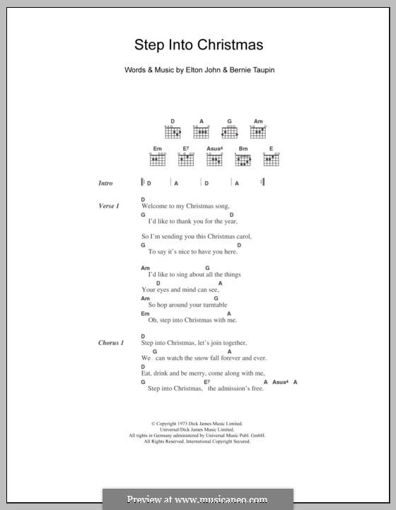 Step Into Christmas: Текст, аккорды by Elton John