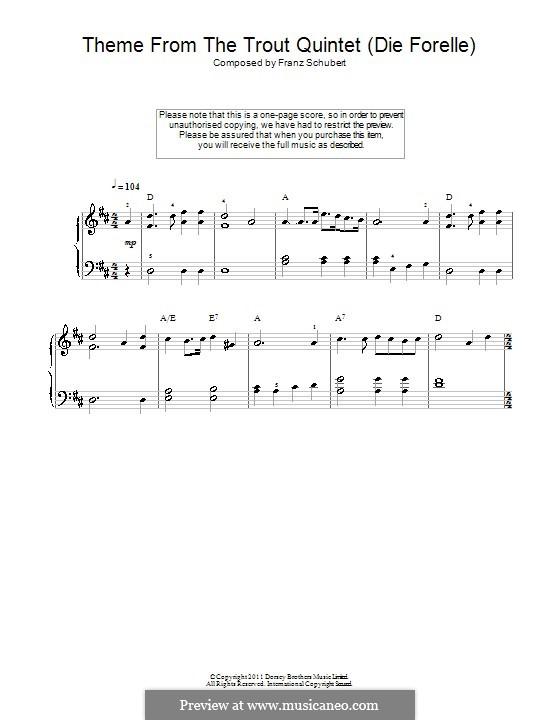 Квинтет для струнных и фортепиано 'Форель', D.667 Op.114: Часть IV (Тема). Версия для начинающего пианиста by Франц Шуберт