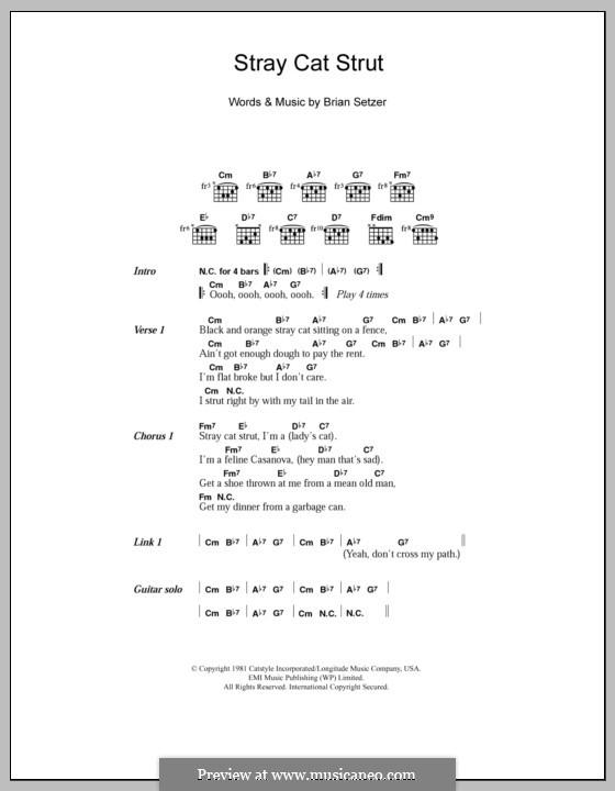 Stray Cat Strut (Stray Cats): Текст и аккорды by Brian Setzer