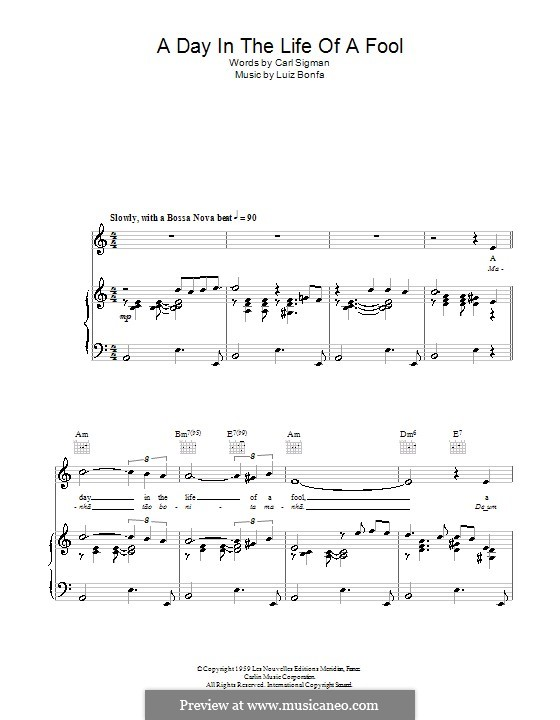 A Day in the Life of a Fool (Manha de Carnaval): Для голоса и фортепиано (или гитары) by Luiz Bonfa