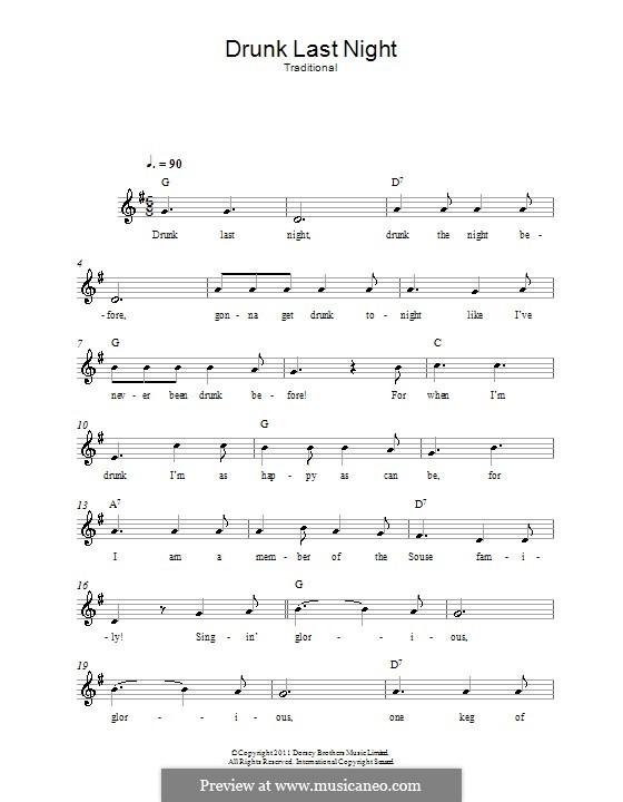 Drunk Last Night: Мелодия, текст и аккорды by folklore