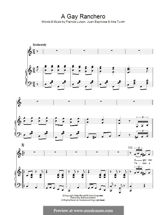 A Gay Ranchero: Для голоса и фортепиано (или гитары) by Abe Tuvim, Francia Luban, Juan Espinosa