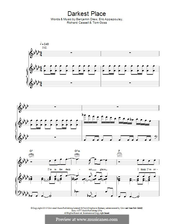 Darkest Place (Plan B): Для голоса и фортепиано (или гитары) by Benjamin Drew, Eric Appapoulay, Richard Cassell, Tom Goss