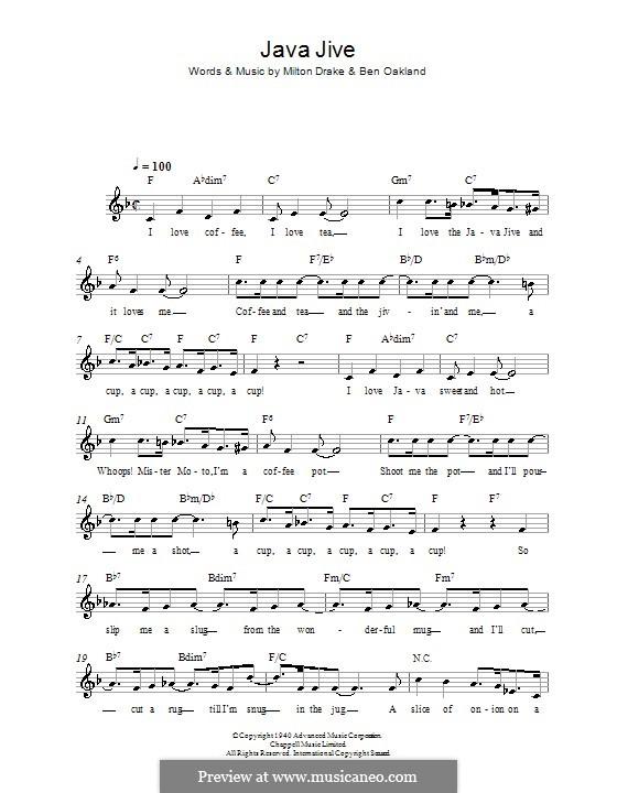 Java Jive (The Ink Spots): Мелодия, текст и аккорды by Ben Oakland, Milton Drake
