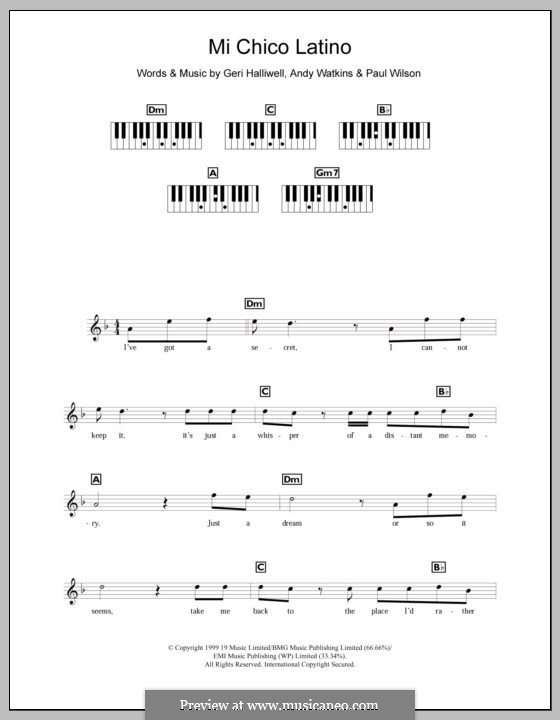 Mi Chico Latino: Для клавишного инструмента by Andy Watkins, Geri Halliwell, Paul Wilson
