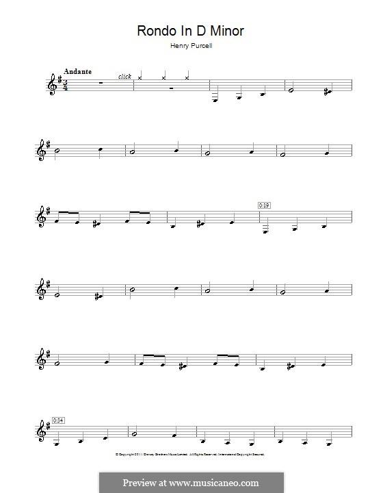 Абделазар, или Месть мавра: Рондо. Переложение для кларнета by Генри Пёрсел