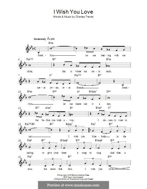 I Wish You Love: Мелодия, текст и аккорды by Charles Trenet