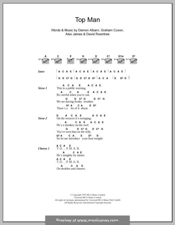 Top Man (Blur): Текст и аккорды by Alex James, Damon Albarn, David Rowntree, Graham Coxon