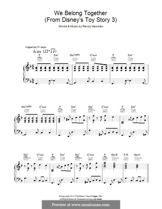 We Belong Together (from Toy Story 3): Для голоса и фортепиано (или гитары) by Randy Newman