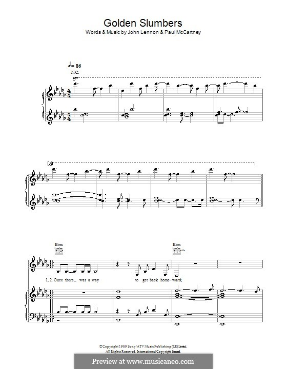 Golden Slumbers (The Beatles): Для голоса и фортепиано (или гитары) by John Lennon, Paul McCartney