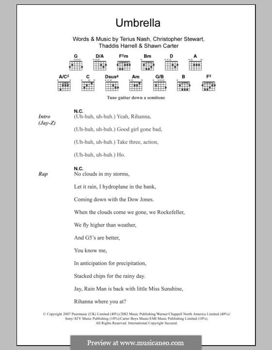 Umbrella (Rihanna featuring Jay-Z): Текст, аккорды by Tricky Stewart , Jay-Z, Terius Nash, Kuk Harrell