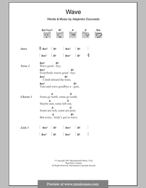 Wave: Текст, аккорды by Alejandro Escovedo