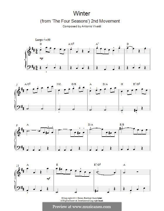 Концерт для скрипки с оркестром No.4 фа минор 'Зима', RV 297: Часть II. Версия для начинающего пианиста by Антонио Вивальди