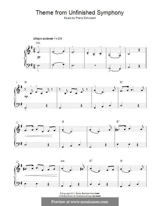 Симфония No.8 'Неоконченная', D.759: Тема. Версия для начинающего пианиста by Франц Шуберт