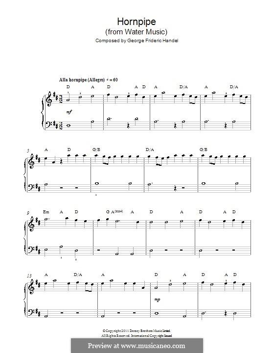Сюита No.2 ре мажор, HWV 349: Alla Hornpipe, for easy piano by Георг Фридрих Гендель