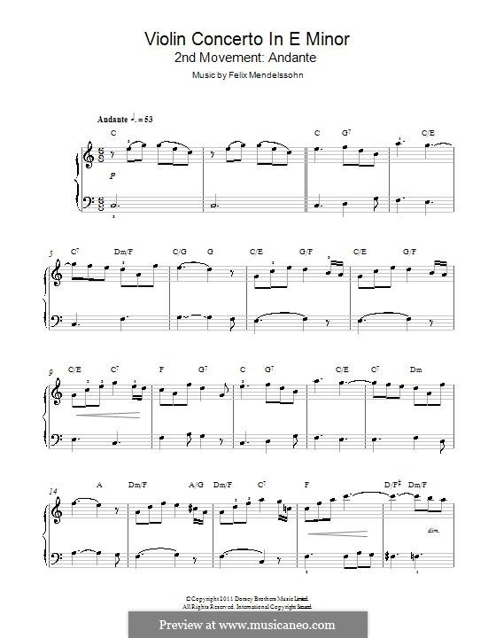 Концерт для скрипки с оркестром ми минор, Op.64: Анданте. Версия для фортепиано by Феликс Мендельсон-Бартольди