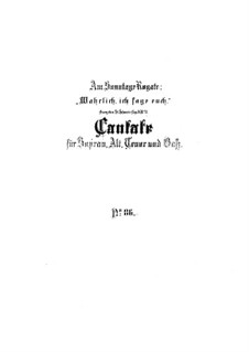 Wahrlich, wahrlich, ich sage euch, BWV 86: Партитура by Иоганн Себастьян Бах
