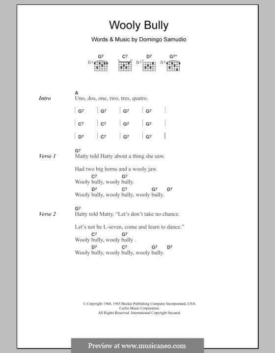 Wooly Bully (Sam the Sham & The Pharaohs): Текст, аккорды by Domingo Samudio