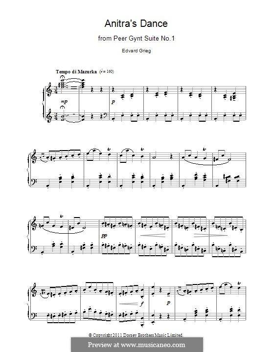 Сюита No.1. Танец Анитры, Op.46 No.3: Для фортепиано (ноты высокого качества) by Эдвард Григ