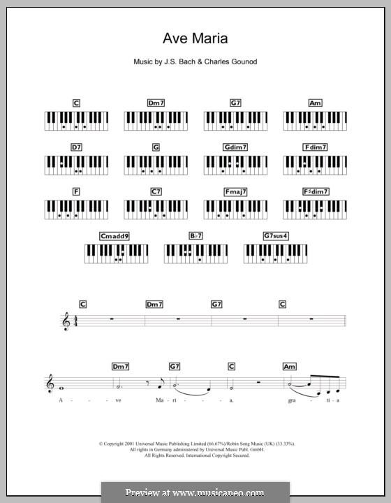 Ave Maria (Printable Sheet Music): Для клавишного инструмента by Иоганн Себастьян Бах, Шарль Гуно