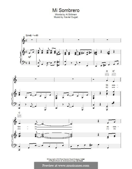 My Sombrero: Для голоса и фортепиано (или гитары) by Xavier Cugat