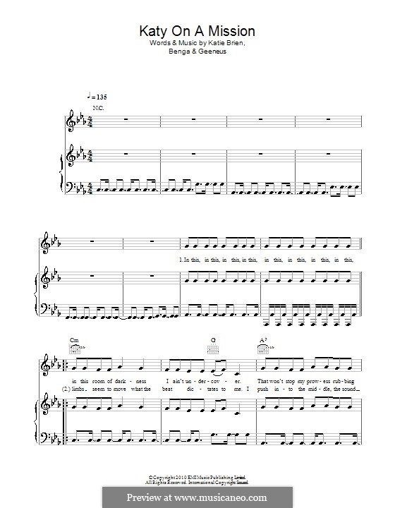 Katy on a Mission (Katy B): Для голоса и фортепиано (или гитары) by Benga, Geeneus, Katie Brien