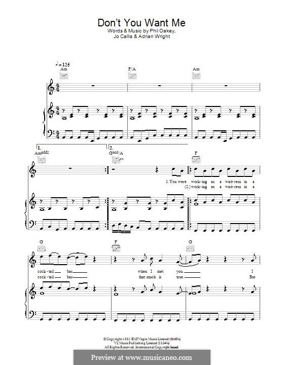 Don't You Want Me: Для голоса и фортепиано или гитары (Glee Cast) by Adrian Wright, Jo Callis, Philip Oakey
