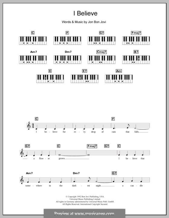 I Believe (Bon Jovi): Для клавишного инструмента by Jon Bon Jovi