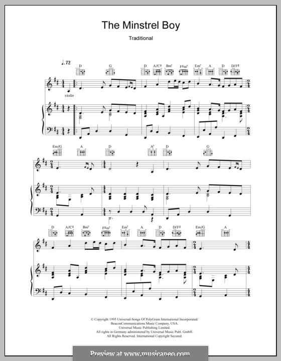The Minstrel Boy (The Moreen): Для голоса и фортепиано (или гитары) by folklore