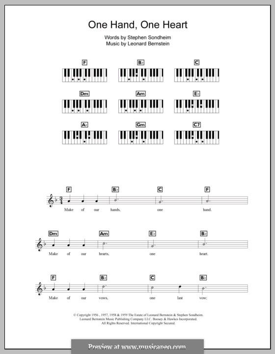 One Hand, One Heart: Для клавишного инструмента by Леонард Бернстайн