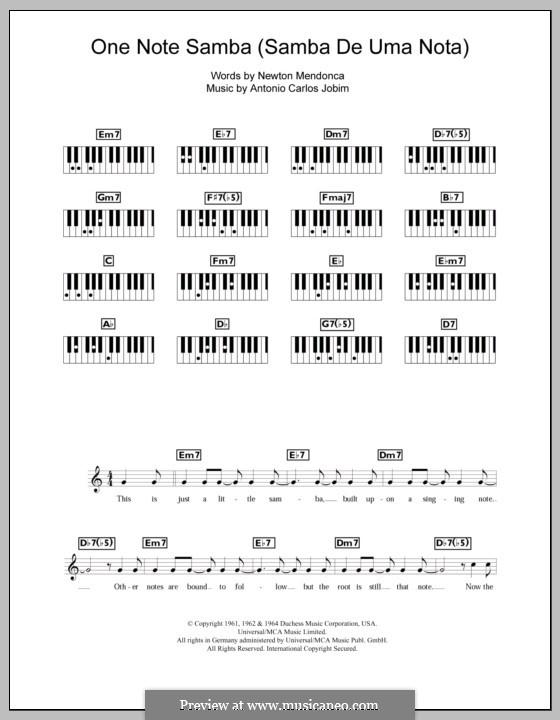 One Note Samba (Samba De Uma Nota): Для клавишного инструмента by Antonio Carlos Jobim