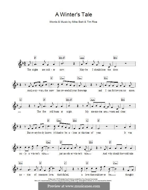 A Winter's Tale (David Essex): Для клавишного инструмента by Mike Batt