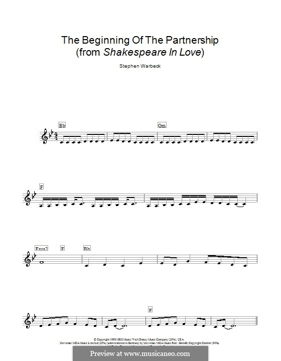 The Beginning of the Partnership (from Shakespeare in Love): Мелодия, текст и аккорды by Stephen Warbeck