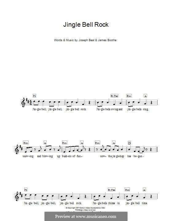 Jingle Bell Rock: Мелодия, текст и аккорды (Chubby Checker) by Jim Boothe, Joe Beal