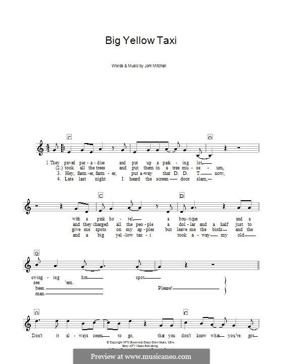 Big Yellow Taxi: Для клавишного инструмента by Joni Mitchell