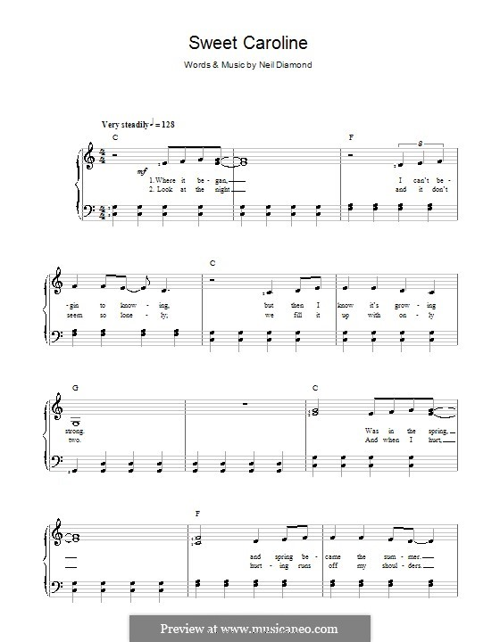 Sweet Caroline: Для голоса и фортепиано by Neil Diamond