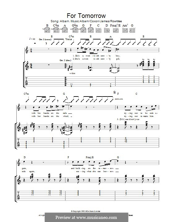 For Tomorrow (Blur): Для гитары с табулатурой by Alex James, Damon Albarn, David Rowntree, Graham Coxon