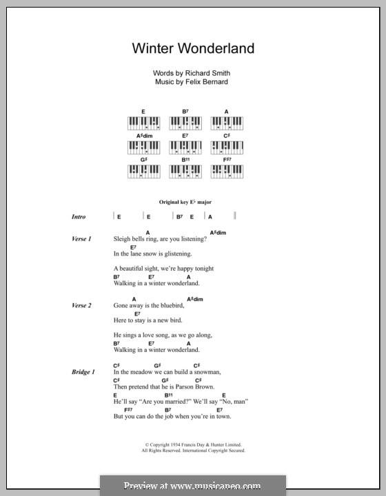 Winter Wonderland: Lyrics and piano chords (Johnny Mathis) by Felix Bernard