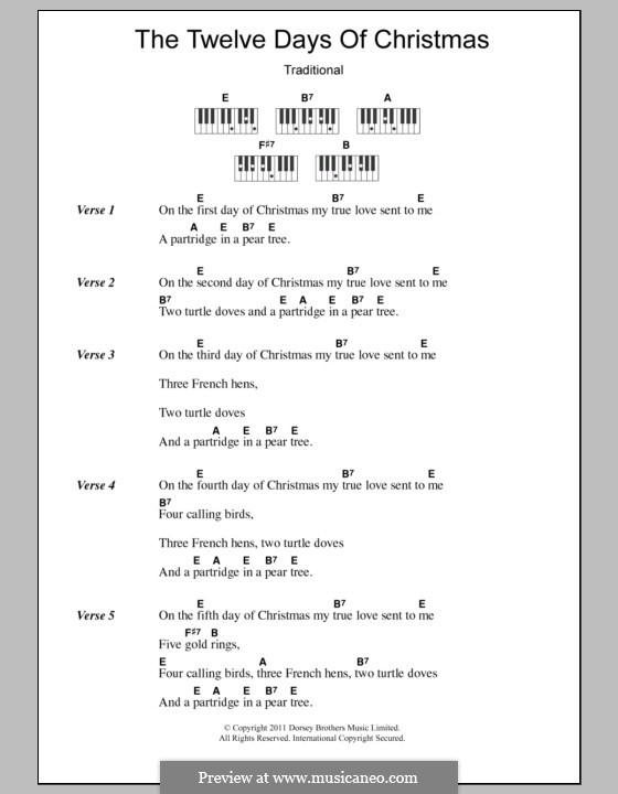 The Twelve Days of Christmas: Текст и аккорды для фортепиано by folklore