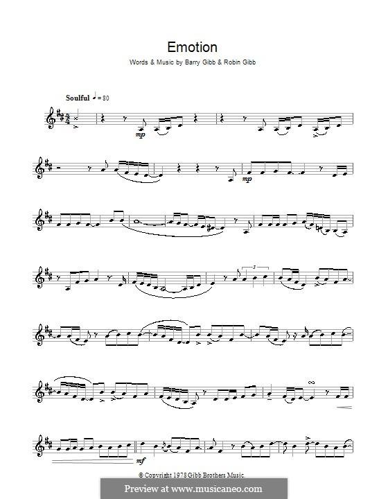 Emotion (Destiny's Child): Для кларнета by Barry Gibb, Robin Gibb