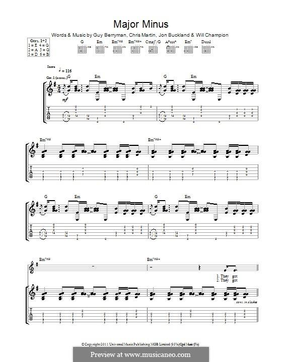 Major Minus (Coldplay): Гитарная табулатура by Chris Martin, Guy Berryman, Jonny Buckland, Will Champion