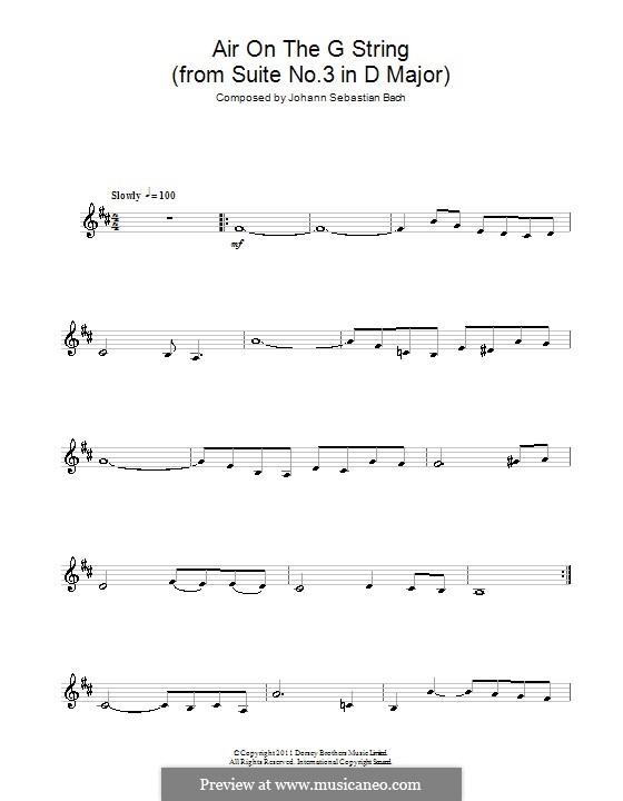 Aria (Printable Scores): Версия для кларнета by Иоганн Себастьян Бах