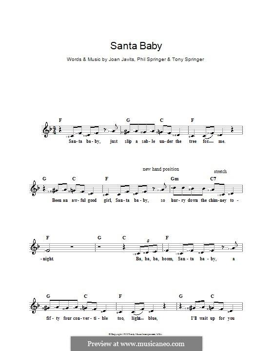 Santa Baby (Eartha Kitt): Для клавишного инструмента by Joan Javits, Philip Springer, Tony Springer